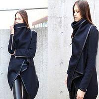 Wholesale Fashion Ladies Long Sleeve Turn Down High Collar Open Stitch Woolen Plain Womens Ladies Coats Colors