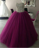 Wholesale Sparkly Crystals Quinceanera Dresses Sweetheart Ball Gown Tulle Prom Dresses Charming Long Formal Prom Gowns