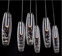 Wholesale new Luxury High Power LED Dining Room Pendant Lamps Glass Vase Bottles Light Crystal Flowers Inside Bar Counter Restaurant Pendant Light