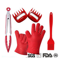 bbq grilling sets - 6Pcs Silicone Set Grilling Gloves Pulled Pork Bear Claws Heat Resistant BBQ Grill Accessories Barbecue Tools FDA Approved