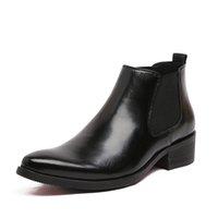 Venta al por mayor-2016 primavera y botas de verano puntiaguda dedo del pie rojo inferior tacones Bullock patrones Oxford vestido para hombres botas