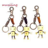 antique robots - Leather Key Chain Robot Danbo Pendant Key Rings Car Key Rings Material Antique Copper Alloy Vintage European Charm Jewelry