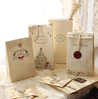 Wholesale Merry Christmas kraft paper bag Gift Bags Party Lolly Favour Wedding Packaging x12x6cm Mix