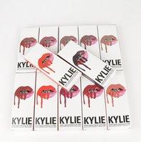 Wholesale KYLIE JENNER LIP Gloss KYLIE JENNER LIP Liner KYLIE kits colors Matte Liquid lipstick setslip Velvetine in Red Velvet Makeup clone