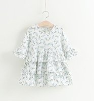 autumn leaves kids - Girls Leaves Print Tiered Ruffle Dresses Kids Boutique Clothing Korean Little Girls Flare Sleeves Dresses