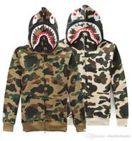bape camo - Men s Shark Hoodie Sweatshirts Camouflage Camo Army Military Men Jacket Full Zip Hoodie Fleece Cardigan Sweatshirt Coats