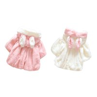 Wholesale Baby Girl Faux Fur Cute Kids Winter Tench Coat Clothes Suits Costume Korean Lovely Hooded New Girls Clothing christmas gift