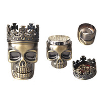 Wholesale Layer male skull bronze metal grinder spices vanilla tobacco smoke detectors mill crusher ashtray