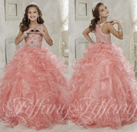 Wholesale Gorgeous Beaded Crystal Girls Pageant Dresses Sparkly Ruffled Organza Ball Gown Girls Birthday Prom Gowns Fast Delivery