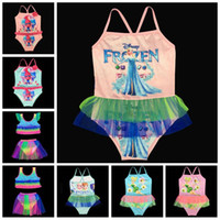 Wholesale Kids Trolls Frozen Cartoon Bikini Movie Trolls Baby Girls Swimwear One Piece Bathing Swimsuit Beach Swimming Costumes Baby Onesies F435