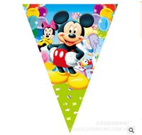 Wholesale flags Cartoon Pattern Mickey Mouse Theme Party Birthday Party Decoration Banner For Children kids Party Supplies