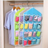 Wholesale Hanging Wall Pocket Storage Bags Candy Color Wardrobe Transparent Underwear Socks Storage Bags for Clothing Hanging