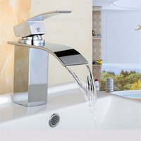 basin mixers - And Retail Modern Waterfall Spout Basin Faucet Single Handle Mixer Tap Deck Mounted