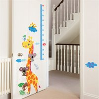 Wholesale Removable Giraffe Height Measure Ruler Wall Sticker Removable Sticker Creative Art Mural Home Decor Adhesivo de Pared Large x90cm pc