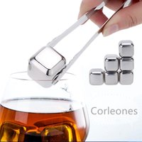 Wholesale 6pcs Stainless Steel Cube Cooler Set Whisky Stone Wine Drinks Cooling Chilling Ice Cube Plastic Storage Case Tongs
