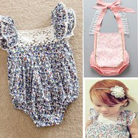 Wholesale Baby Girls Floral Rompers Summer Newborn Cotton Lace One Piece Tutu Rompers Jumpsuits Infant Kids Children Clothing PX R01