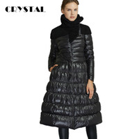 Wholesale CRYSTAL NEW Women Winter Coat X Long Down feather Thick Slim Jacket Big Wool Collar Black Red S M L XL XXL