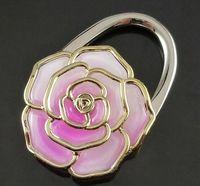 Wholesale 100pcs Portable Folding Rose Hang Bag Hook Bag Hanger Purse Holder Bag Locking Device gift