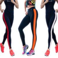 achat en gros de pants xl pour les femmes-Mode féminine Exercice serré Bodybuilding Cololr Stripe Pantalons confortables Slim Sport pantalons respirants pour le sport en plein air Running