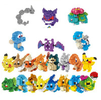 Wholesale Cartoon Poke Building Blocks Stuffed Anime Diamond Blocks Figures Bricks Kids Boys Girls Toys Gift Mini Cartoon Model With Retail Box F480