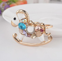 Wholesale Multicolor Crystal Horse Rhinestone Metal Bag Pendant Key Holder Keyring Keychain For Car DHL free ship
