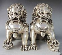 Wholesale Collectible Rare Chinese Silver Bronze Fu Foo Dog Guardian lion Statue Pair Free