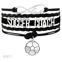 10 PCS / Lot) Infinity Amour Soccer Coachs Soccer Charm Bracelets En cuir de daim Personnalisé Tous les thèmes Drop Shopping