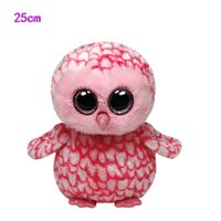 animal barn - cm Ty Beanie Boos Plush Toy PINKY pink barn owl Stuffed Animal Doll Big Eye Kids Toy Soft Cute Birthday Gift