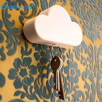 Wholesale Creative Novelty Home Storage Holder White Cloud Shape Magnetic Magnets Key Holder freeshipping t638