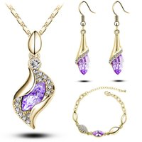 Cheap Hot selling Crystal Pearl Pendant jewelry sets Women necklace earring bracelet sets Indian jewelry Wholesale Christmas gift sets