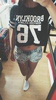 al por mayor brooklyn camiseta xl-Raodaren moda cosecha Top T-shirt de las mujeres BROOKLYN 76 impresa camiseta impresa mujeres recortadas Tops Mujer Mujer Ropa