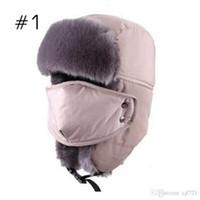 Wholesale Russian Hat Fur Men Thickening Cotton Fur Outdoor Winter Fur Hats for Men Women Ski Bomber Hats Keep Warm Snow Caps