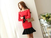 bell collection - 9110 new style New arrival New collection Red Black Panelled Slash Neck Long sleeve Lady dress S XL