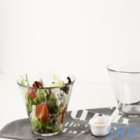 Wholesale Nordic style french alphabet Inclined plane small fresh beautiful brief delicate transparent clean glass salad bowl