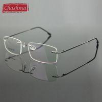 achat en gros de poids des lunettes de cadre-Vente en gros - Chashma Rimless Titanium Alloy Ultra Light Weight Lunettes de myopie Frame Optical Eye Glasses For Men