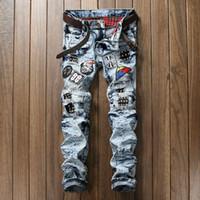 Wholesale Balmain High quality men s denim Full Length jeans new arrival men jeans fashion straight casual slim long pants Men Trousers Size