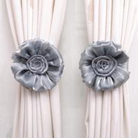 Wholesale New Clip on Home living Room Bed Room Rose Flower Curtain Tie Backs Tieback Holder Voile Drape Panel Decorative