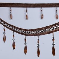 beaded trim fringe - Curtain Lace Ornament Tassel Fringe Trim DIY Crystal Beaded Ribbon Drapery Sewing Textile Decoration YR0105