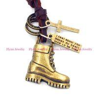 amulet boot - Pendant Necklace Leather Necklace Pendant Mens Jewelry Boots Accessories Metal Pendulum Amulet Hip Hop Pendant Decorations Gifts