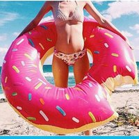 Wholesale 90cm Cute Donut Swimming Float Inflatable Swimming Ring Adult Pool Floats Color Free By DHL