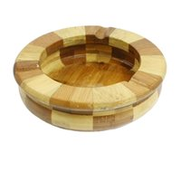 Wholesale GSFY Amico Home Office Beige Brown Bamboo Round Shape Cigarette Ash Holder Ashtray