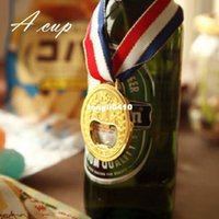 Wholesale 4 x4 cm Open a bottle of beer gold medal creative opener beer bottle opener metal gift send boys family party