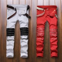 best fitting white jeans - Best version zippers men jeans skinny slim fit mens Distressed justin bieber cotton Denim jeansRed and white street pant