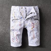 Pantalones vaqueros flacos de los pantalones vaqueros de la manera para los hombres apenados rasgó la alta calidad del dril de algodón causal corto del punky de Hip Hop de los hombres aptos del diseño de la marca de fábrica famosa famosa de la marca de fábrica