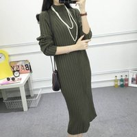 Wholesale 2016 of South Korea s new winter sweater knit dress casual loose long slim dress dresses thick backing