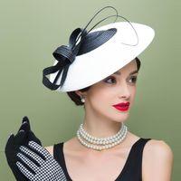al por mayor sombrero de la venda de la vendimia-Vintage New Church Derby Fascinator nupcial de la boda del vintage Blanco y negro Pillbox Casquillo del sombrero del arco Cascos de la corona de la venda
