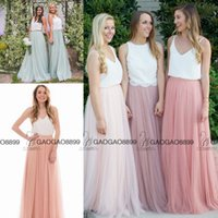 affordable modest dresses - Boho Loves Affordable Dusty Blue Long Country Mumu Bridesmaid Dresses Modest Two Tone Skylar Skirt Maid Of Honor Bridesmaids Gowns