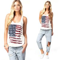 best white blouses - Best Sales Women s White Blouse USA National Flags Print Summer Vest Tank Tops S XL