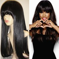 Wholesale 8A Grade soft virgin straight hair full lace human hair wigs lace front human hair wigs with bangs