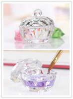Wholesale New Arrival Nail Art Acrylic Crystal Glass Dappen Dish Bowl Cup with Cap Liquid Glitter Powder Caviar Nail Styling Tools